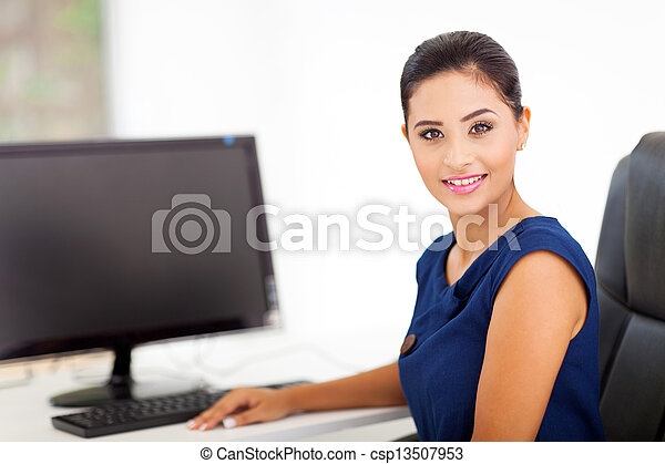 indian woman in her office - csp13507953