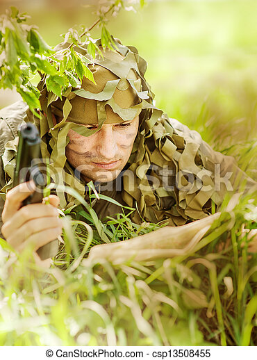 Military Camouflaged man - csp13508455