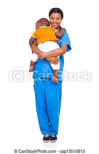 african nurse carrying a child - csp13510813