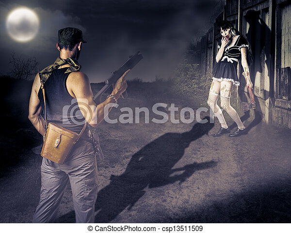 Military man and female zombie  - csp13511509