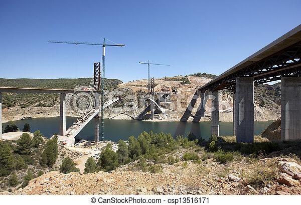 Bridges under construction - csp13516171