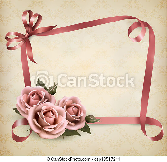 Retro holiday background with pink roses and ribbons. Vector illustration. - csp13517211