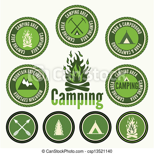 Set of retro camping badges - csp13521140