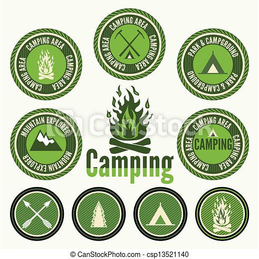Set of retro camping badges - csp13521140