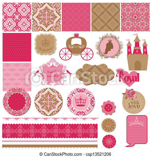 Scrapbook Design Elements - Princess Girl Birthday Set - in vector - csp13521206