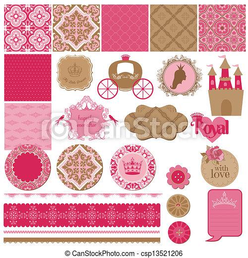 Scrapbook Design Elements - Princess Girl Birthday Set - in vector - csp13521206