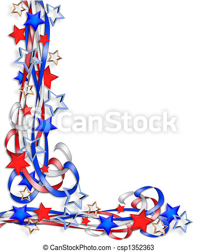 Patriotic Border Stars and Stripes - csp1352363