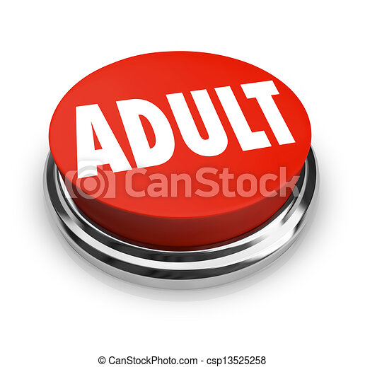 Adult Word Red Button Mature Restricted Content - csp13525258