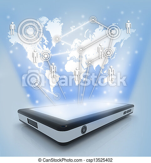 Communication technology with mobile phone  - csp13525402