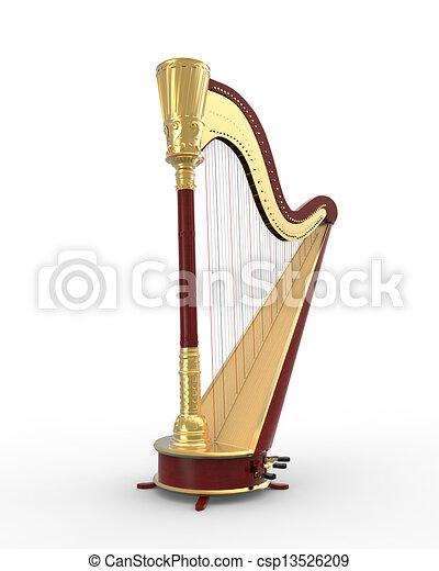 musical, instrumento, harpa - csp13526209