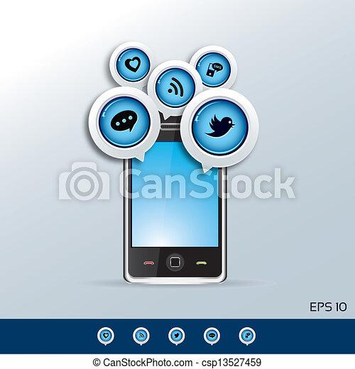 Vektor smartphone und sozial netz heiligenbilder stock