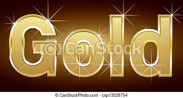 Clipart Vector of Golden Word Gold - Vector golden word gold with ...
