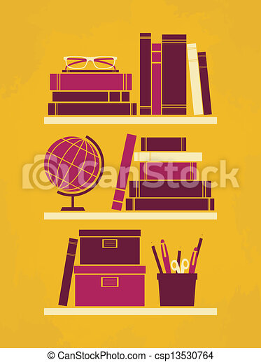 clip art vecteur de affiche bureau retro style bureau affiche csp13530764 recherchez des. Black Bedroom Furniture Sets. Home Design Ideas