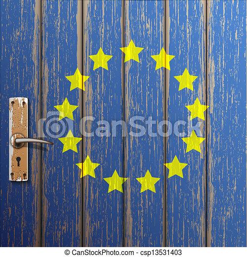 Euro flag painted on old wooden door - csp13531403