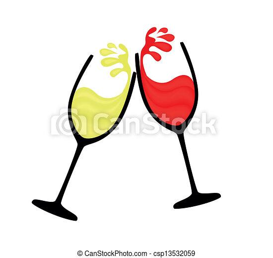 Vecteur clipart de blanc verre vin rouges vin verre vin de rouges et csp13532059 - Verre de vin dessin ...