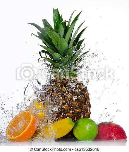 Fresh fruits with water splash isolated on white  - csp13532646