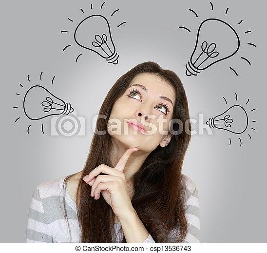 hermoso, mujer, gris, pensamiento, Muchos,  ideas, Arriba, Mirar, Plano de fondo - csp13536743