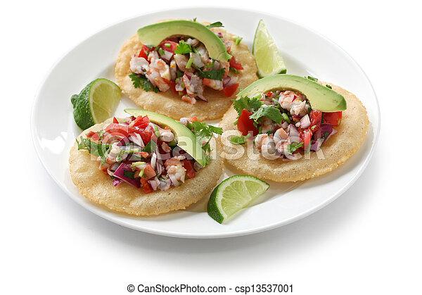 tostadas de ceviche, mexican food - csp13537001