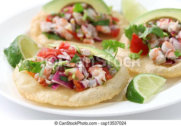 tostadas de ceviche, mexican food - csp13537024