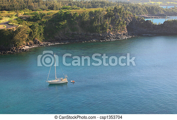 Honolua Bay with Sail Boat - csp1353704