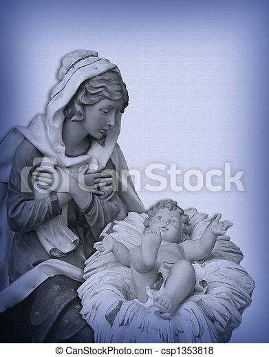 Christmas Nativity Madonna Jesus - csp1353818