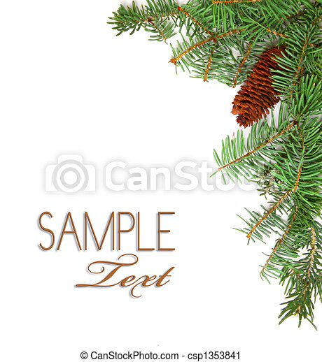 Christmas Rustic Image of Pine Tree Stems and a Pinecone - csp1353841