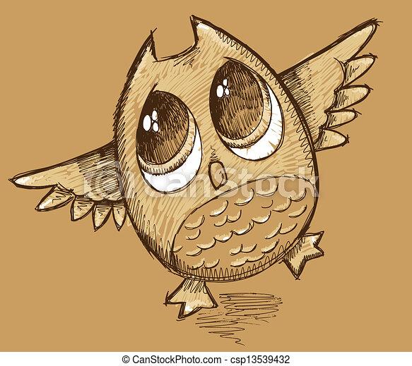 Owl Sketch Doodle Vector Art - csp13539432
