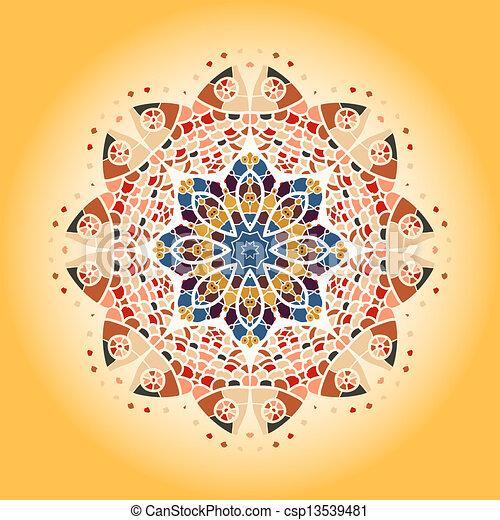 vecteur de oriental mandala motif rond lase mod le jaune fond csp13539481. Black Bedroom Furniture Sets. Home Design Ideas