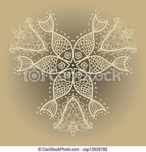 vecteur de oriental mandala motif poissons ornement oriental csp13539782 recherchez. Black Bedroom Furniture Sets. Home Design Ideas