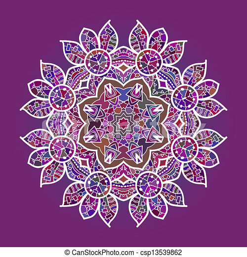 Clip Art Vecteur de oriental, Mandala, motif, rond, lase, modèle, sur ...