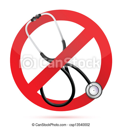Vector Clipart of no medical help sign with a Stethoscope ...