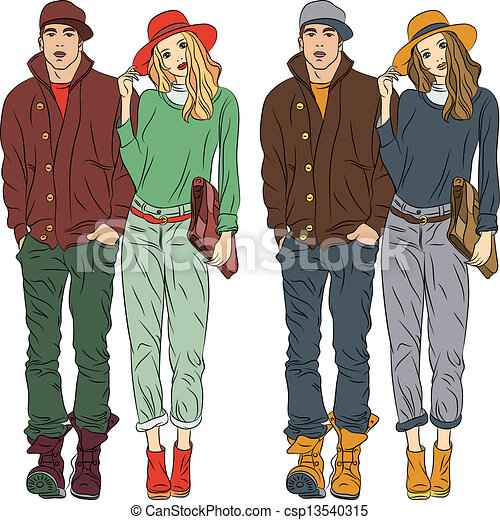 Vector fashion stylish guy and girl  in spring clothes - csp13540315