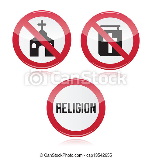 No religion, no church red sign - csp13542655