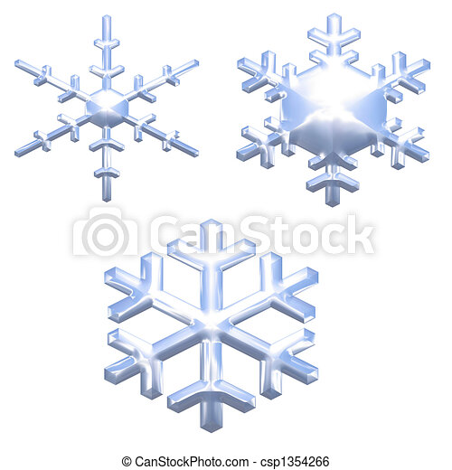 set of chrome metal effect snow flakes over white - csp1354266