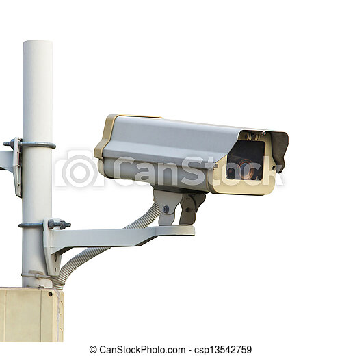 CCTV or security camera isolated over white background - csp13542759