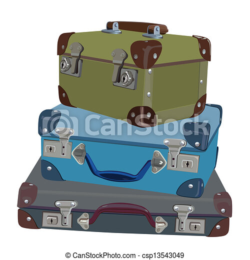 clip art vector of stacked suitcases - a stack of old vintage