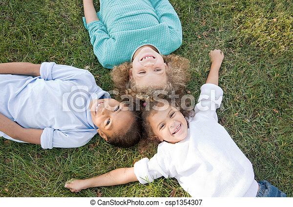 Three Children Having Fun - csp1354307
