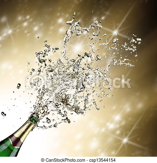 Close-up of champagne explosion - csp13544154