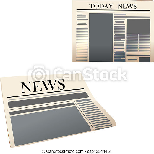 Newspaper icons with detailed elements - csp13544461