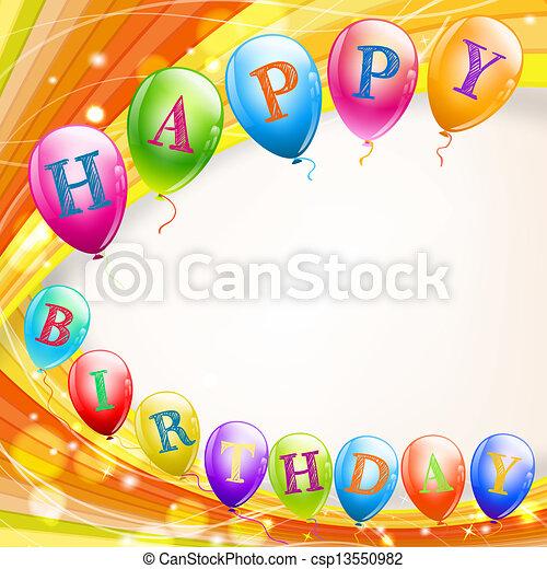 Vector de feliz, cumpleaños, Plano de fondo, Globos csp13550982 ...