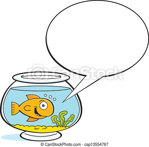 金鱼, 标题, bal, 卡通漫画 - csp13554767