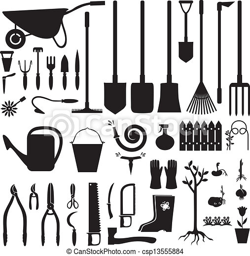 Vector of Garden equipment set Set of silhouette images of
