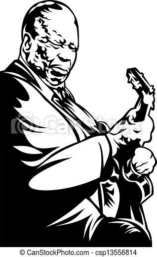 Vector Clip Art of jazz man - old jazz man isolated on the ...