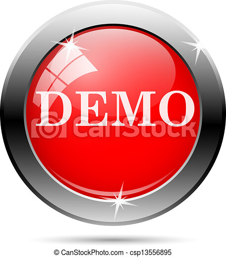 EPS Vectors of Demo icon with white writing on red ...