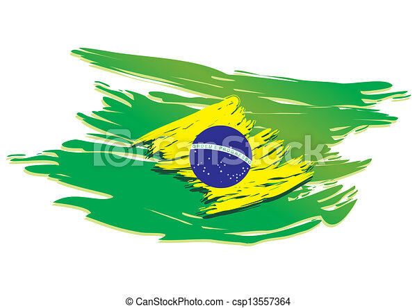 brazil flag stylized - csp13557364