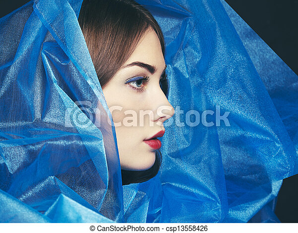 Fashion photo of beautiful women under blue veil - csp13558426