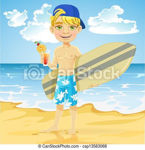 Clip Art Vector of Teen boy with surfboard on beach - Cute ...
