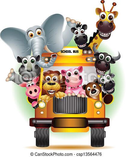 funny animal cartoon on yellow car - csp13564476