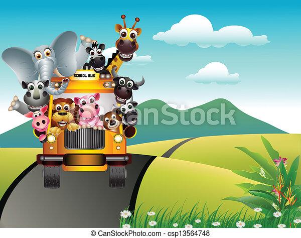 funny animal cartoon on yellow car - csp13564748