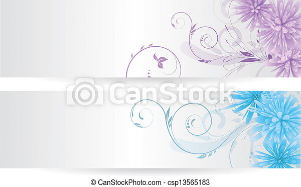 Banners with abstract flowers - csp13565183